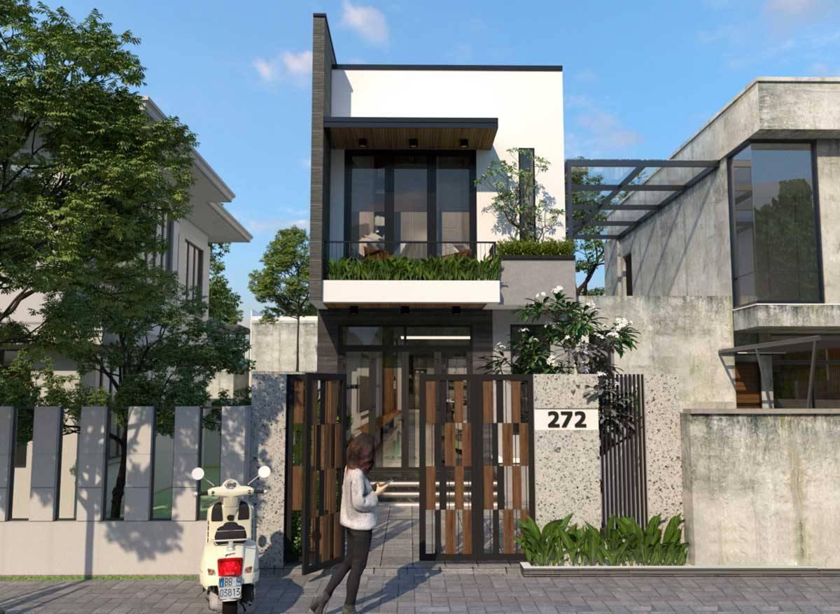 mẫu nhà 2 tầng 5x21m