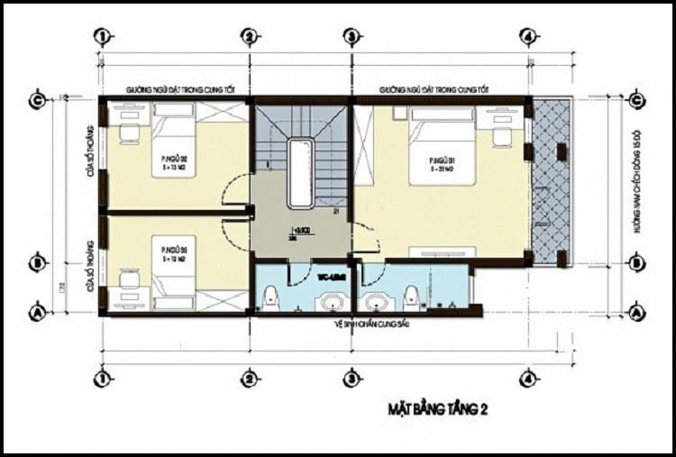 mẫu nhà 2 tầng 6x12m