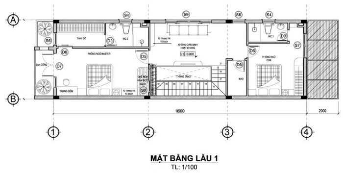 mẫu nhà 2 tầng 6x16m