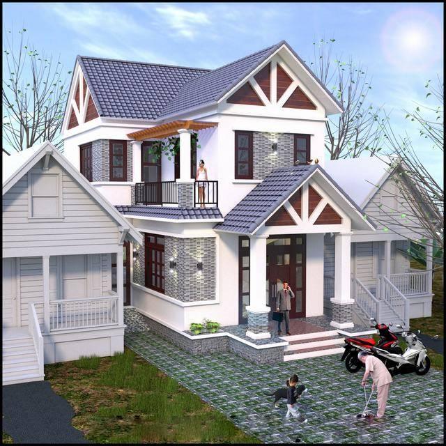 mẫu nhà 2 tầng 7x16m