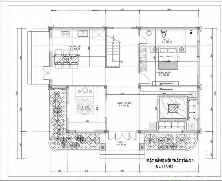 mẫu nhà 2 tầng có phòng thờ tầng 1