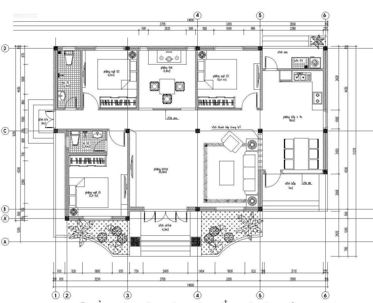 mẫu nhà cấp 4 9x15m