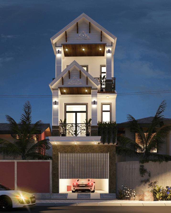 mẫu nhà đẹp 3 tầng 4x16m