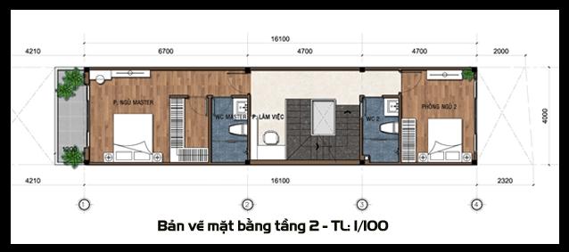 mẫu nhà ống 2 tầng 1 tum 3 phòng ngủ