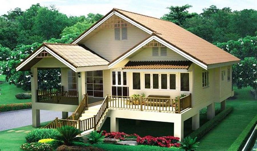 mẫu nhà 2 tầng kiểu nhà sàn