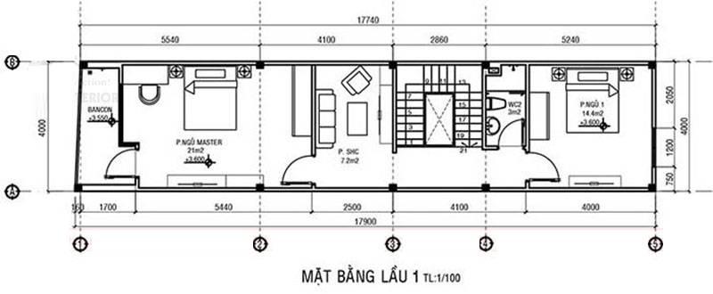 nhà ống 2 tầng 4x20m 2021