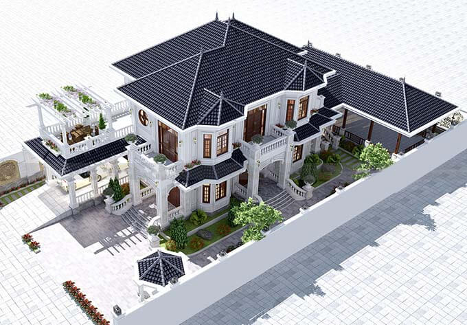 Toàn cảnh kiến trúc mẫu biệt thự 2 tầng mái Nhật