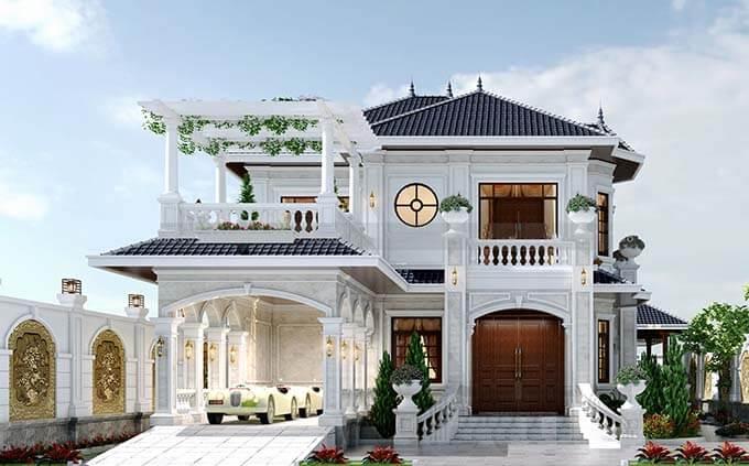 Chi tiết mặt tiền mẫu thiết kế biệt thự đẹp 2 tầng mái Nhật