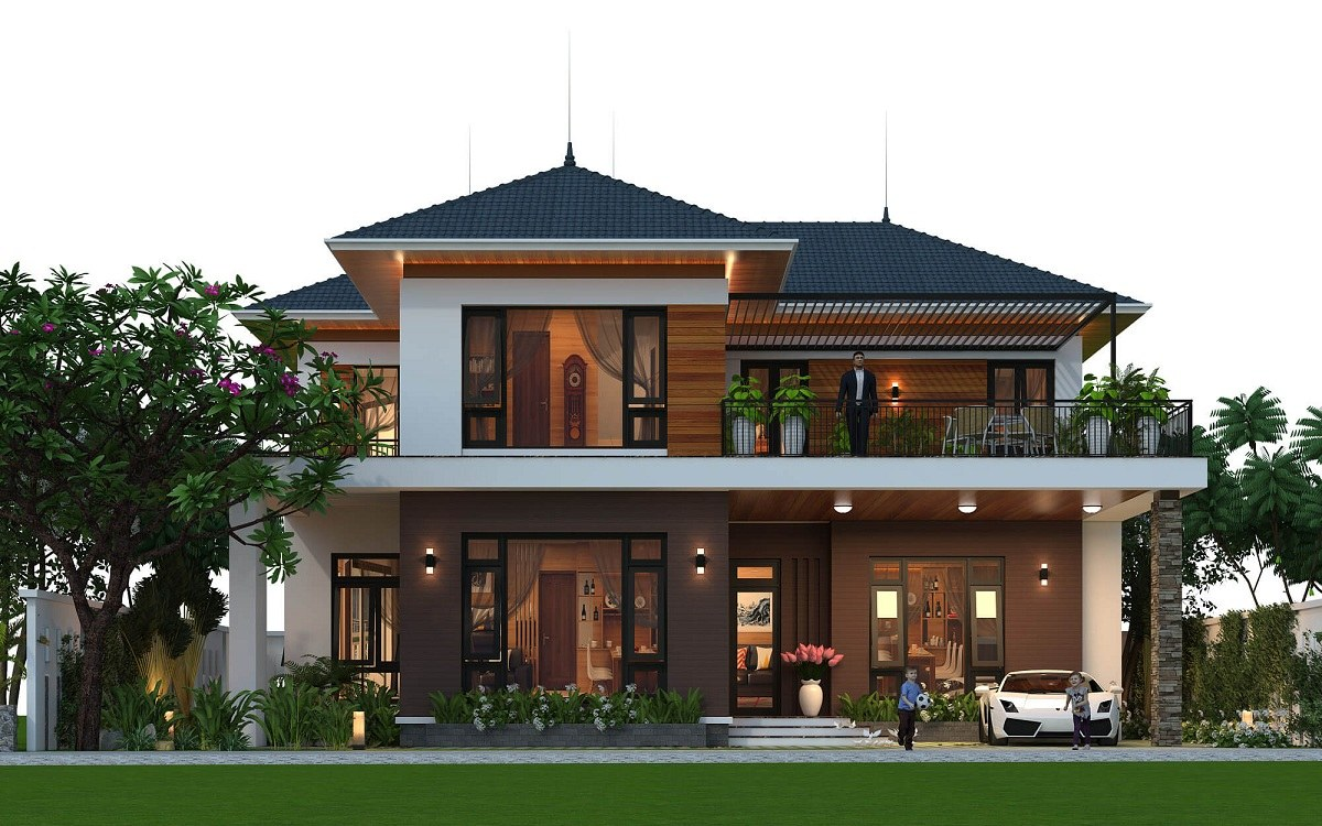 Mái nhà phối hợp cùng kiến trúc biệt thự tạo nên căn nhà đầy ấn tượng và đẳng cấp